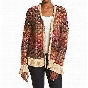 NWT Nanette Lepore Red Ruffle Cardigan Sweater S